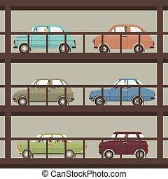 Cars In Parking Building Vector Illustration