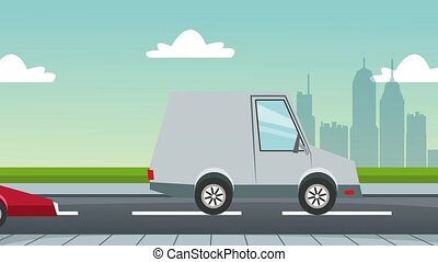 Cars in road over cityscape HD animation - Traffic cars on...