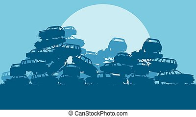 Cars in salvage junkyard in evening with sunset vector