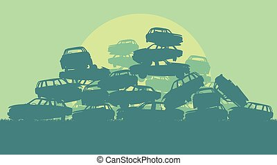 Cars in salvage junkyard in evening with sunset vector ...