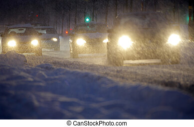 Cars in snowstorm