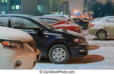 cars in the parking at winter