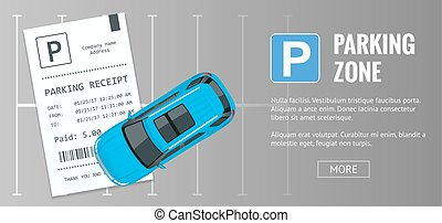 Cars in the parking lot and Parking tickets. Public car-park. Flat illustration for web. Urban transport. Large number of cars in a crowded parking.