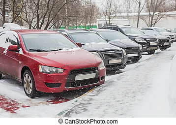 Cars in the parking lot on a winter