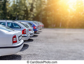 Cars in the parking lot.