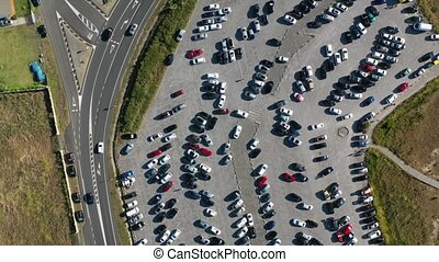 cars in the parking lot top view from drone 4k video
