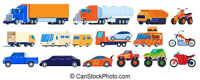 Cars isolated on white, trucks and industrial vehicles set, motorcycle and camper van, vector illustration