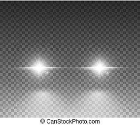 Cars light effect. White glow car headlight bright beams ray...