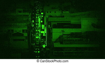 Cars Light Up Avenue In City Night Vision