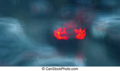 Cars Lights In Rain Blur Abstract