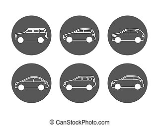 Cars line icons vector set. Side view auto icons