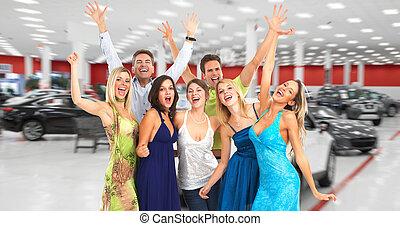 cars., lycklig, grupp, färsk, folk