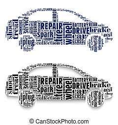 Cars made from clouds of words.