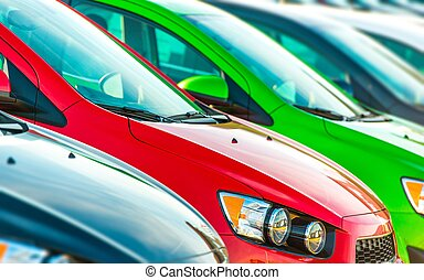 Cars Marketplace. Car Dealer Colorful Cars Stock.