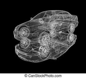 cars., modèle, render, 3d
