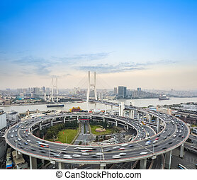 cars motion blur on the bridge
