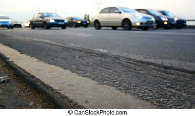 Cars motion road light