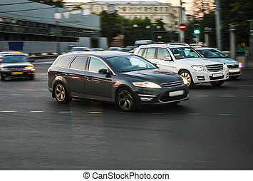 cars moving at the intersection in Moscow