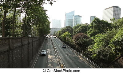 Cars moving through tunnel