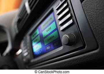 Cars multimedia system display. - Modern car interior with...