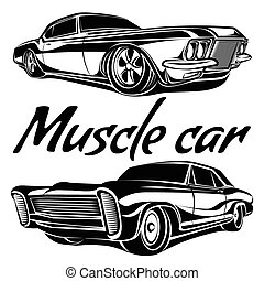 Cars muscle 70s set - Cars muscle 70s vector set
