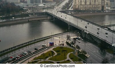 Cars near the Arbat street, Moscow, Russia, summer day