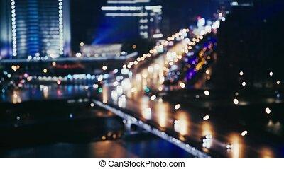 Cars near the Arbat street, Moscow, Russia, summer night blur