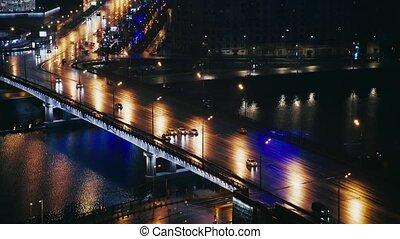 Cars near the Arbat street, Moscow, Russia, summer night