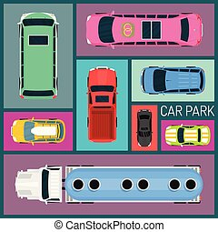 Cars of different size and color seamless pattern vector illustration. Car parking. Top view of parking zone with a variety of cars. Parking garage in flat style. Transportation.