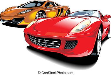 cars of future (my original automobile design) isolated on...