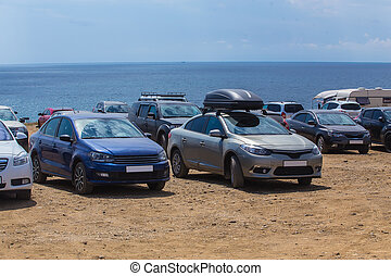 Cars on a camping by the sea