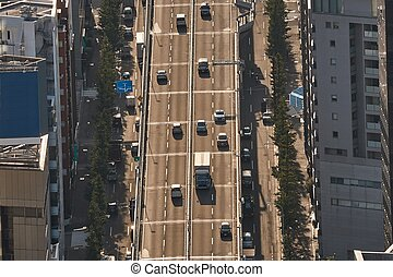 Cars on a Japanese expressway