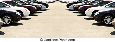 Rows of cars on a car lot