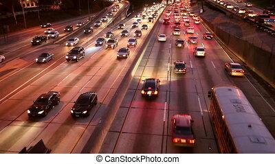 Cars on Freeway - Busy Freeway in Los Angeles, California