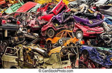 cars on junkyard - old cars in a junkyard.
