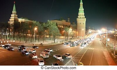cars on night crossroad near Kremlin, Moscow, Russia