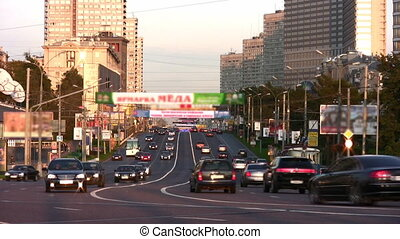 cars on road. Moscow - Cars on road in Moscow city.
