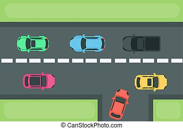 Cars on road.