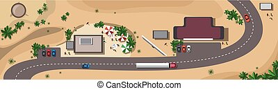 Cars On Road Traffic Concept Top Angle View