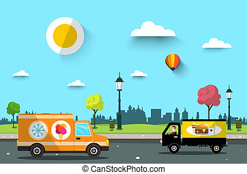Cars on Street with City Park on Background. Vector Flat Design Natural Scene.
