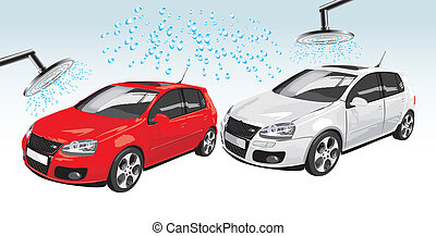 Cars on the auto washing. Abstract composition. Vector illustration
