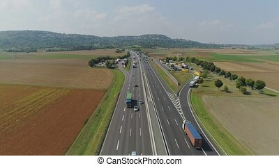 Cars on the Autobahn in Germany fast driving beautiful road...