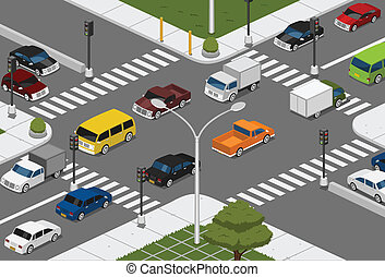 cars on the intersection road