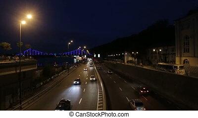 Cars on the night freeway