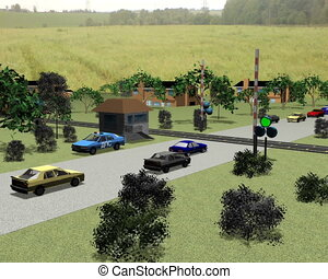 Cars on the railway crossing