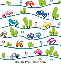 Cars on the road. Funny seamless pattern.