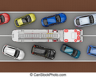 Cars on the road give way fire truck. 3d rendering