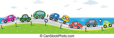 Cars on the road. - Horizontal seamless pattern with cars,...