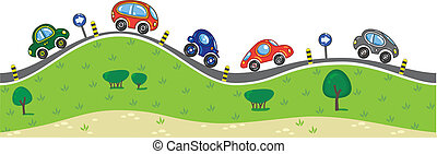 Cars on the road. - Horizontal seamless pattern with cars, ...