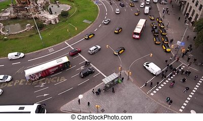 Cars on the road near Plaza de Espana in Barcelona. High ...